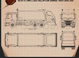 Volvo FE Rolloffcon Garbage Truck 2013 Blueprint