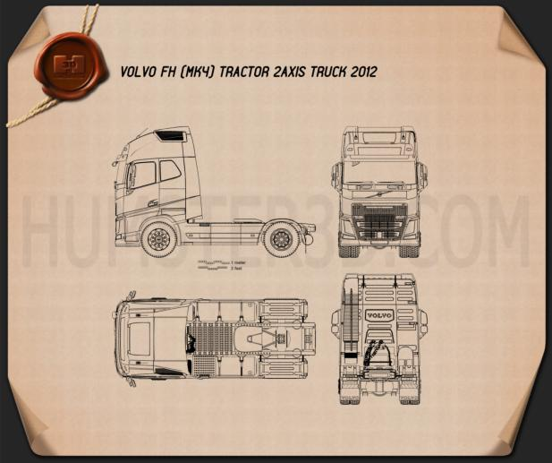 Volvo FH Tractor Truck 2012 Blueprint