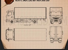 Volvo FL Box Truck 2013 Blueprint