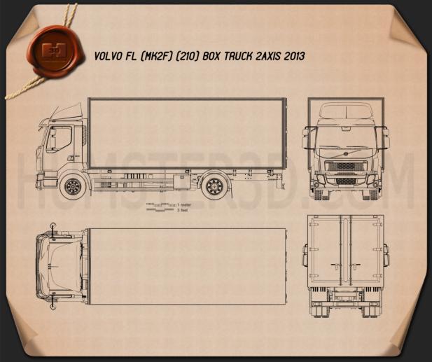 Volvo FL Box Truck 2013 Blueprint