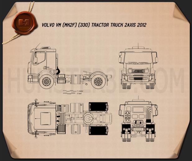 Volvo VM Tractor Truck 2012 Blueprint