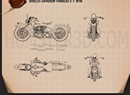 Harley-Davidson Panhead E F 1948 Blueprint