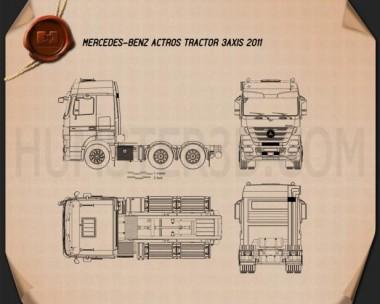 Mercedes-Benz Actros Tractor 3-axle 2011 Blueprint