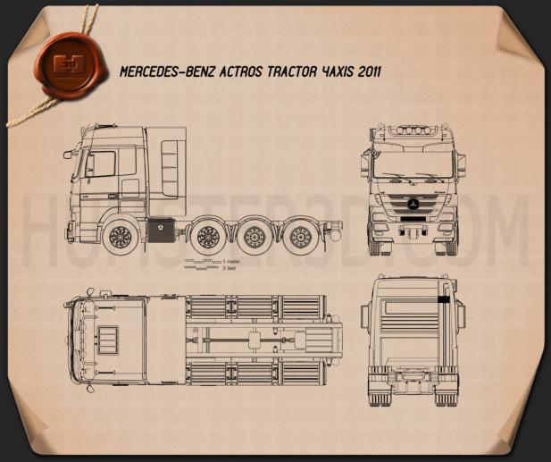 Mercedes-Benz Actros Tractor 4-axle 2011 Blueprint