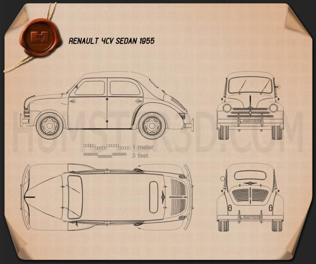 Renault 4CV sedan 1955 Blueprint