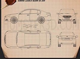 Subaru Legacy sedan US 2011 Blueprint