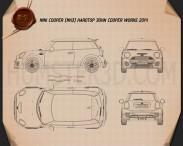Mini John Cooper Works hardtop 2014 Blueprint 3d model