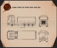 Scania R 730 Tipper Truck 2010 Blueprint