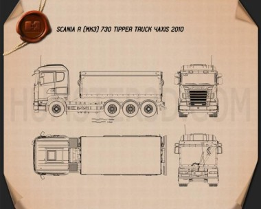 Scania R 730 Tipper Truck 2010 Blueprint