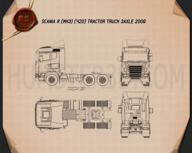 Scania R420 Tractor Truck 3-axle 2009 Blueprint