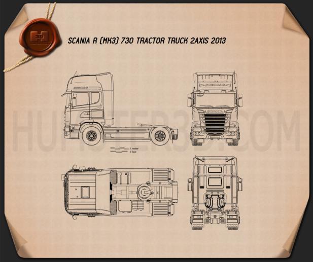 Scania R 730 Tractor Truck 2013 Blueprint