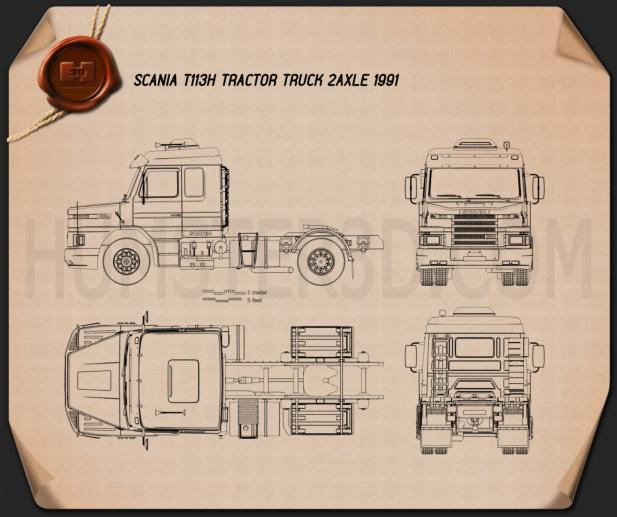 Scania T113H Tractor Truck 1991 Blueprint