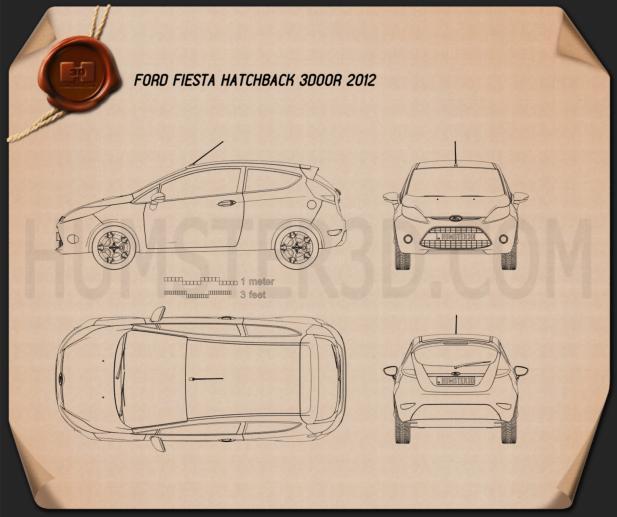 Ford Fiesta hatchback 3-door (EU) 2012 Blueprint