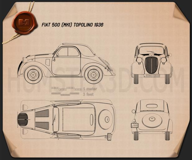 Fiat 500 Topolino 1936 Blueprint