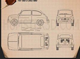 Fiat 600 D 1960 Blueprint