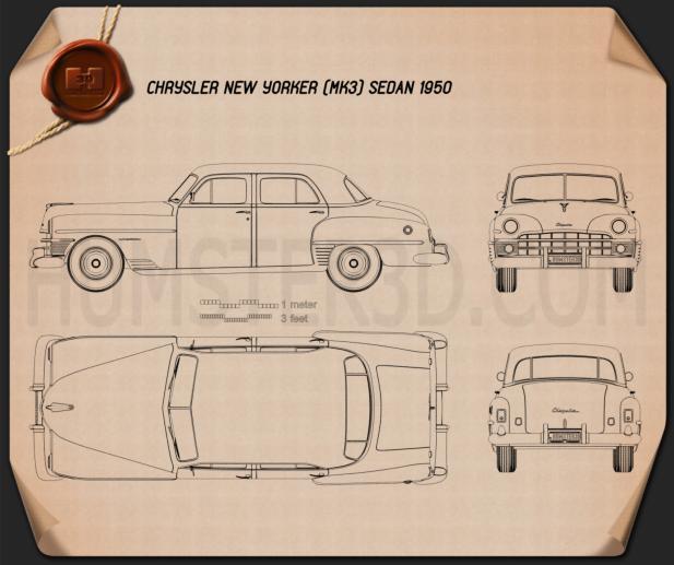 Chrysler New Yorker sedan 1950 Blueprint