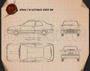 Renault 19 3-door hatchback 1988 Blueprint 3d model