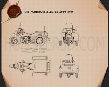 Harley-Davidson Servi-Car Police 1958 Blueprint