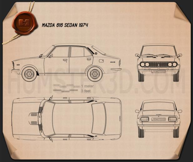 Mazda Capella (616) sedan 1974 Blueprint