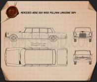 Mercedes-Benz 600 W100 Pullman 1964 Blueprint