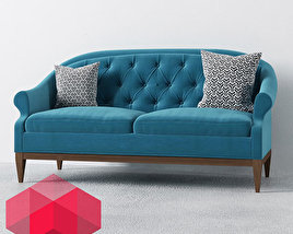 Sofa with two pillows