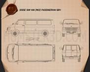 Dodge Ram Van 1994 Blueprint 3d model