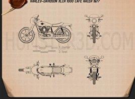 Harley davidson blueprint 3d models download hum3d harley davidson xlcr 1000 cafe racer 1977 blueprint malvernweather Images