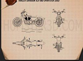 Harley-Davidson XLH 883 Sportster 2002 Blueprint