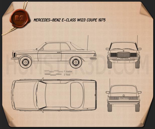 Mercedes-Benz E-class W123 coupe 1975 Blueprint