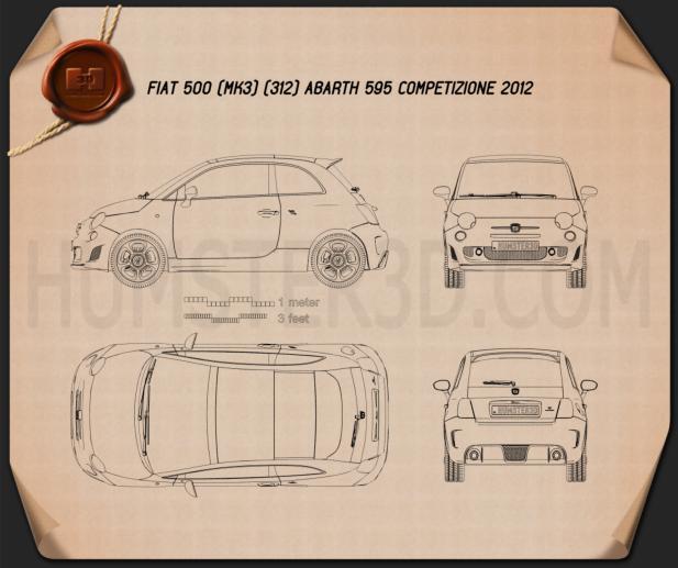 Fiat 500 Abarth 595 Competizione 2012 Blueprint