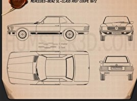 Mercedes-Benz SL-Class R107 coupe 1972 Blueprint