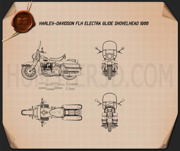Harley-Davidson FLH Electra Glide Shovelhead 1966 Blueprint