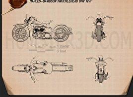 Harley-Davidson Knuchlehead OHV 1941 Blueprint