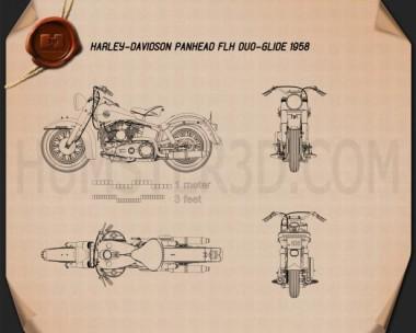 Harley-Davidson Panhead FLH Duo-Glide 1958 Blueprint