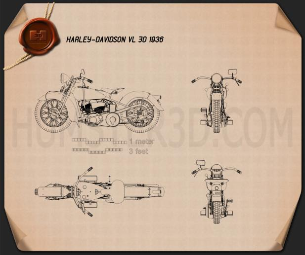 Harley-Davidson VL JD 1936 Blueprint