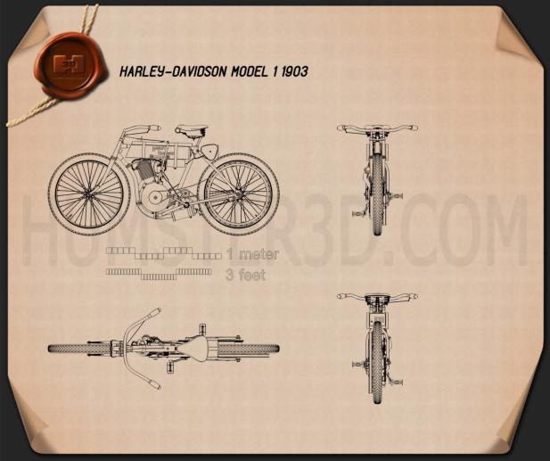 Harley-Davidson Model 1 1903 Blueprint