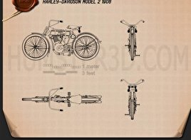 Harley-Davidson model 2 1906 Blueprint