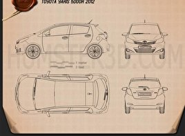 Toyota Yaris (Vitz) 5door 2012 Blueprint