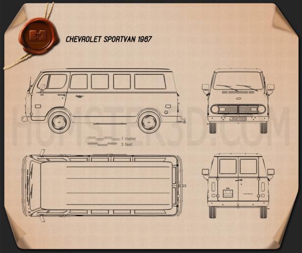 Chevrolet Sport Van 1968 Blueprint
