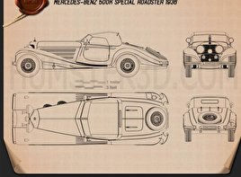 Mercedes-Benz 500K Special Roadster 1936 Blueprint