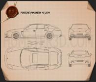 Porsche Panamera 4S 2014 Blueprint