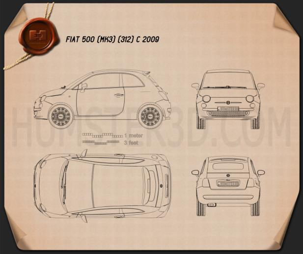 Fiat 500 C 2009 Blueprint