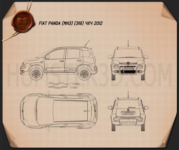 Fiat Panda 4x4 2012 Blueprint