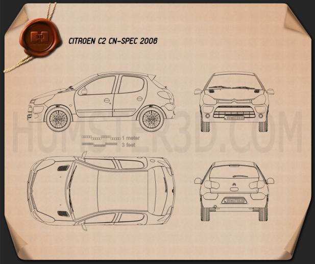 Citroen C2 (CN) 2006 Blueprint
