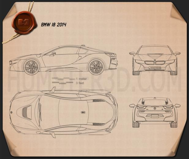 BMW i8 2014 Blueprint