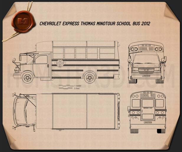 Thomas Minotour School Bus 2012 Blueprint