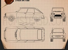 Citroen Ami 8 1969 Blueprint