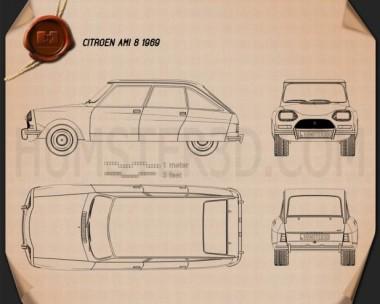 Citroen Ami 8 1969 Blueprint