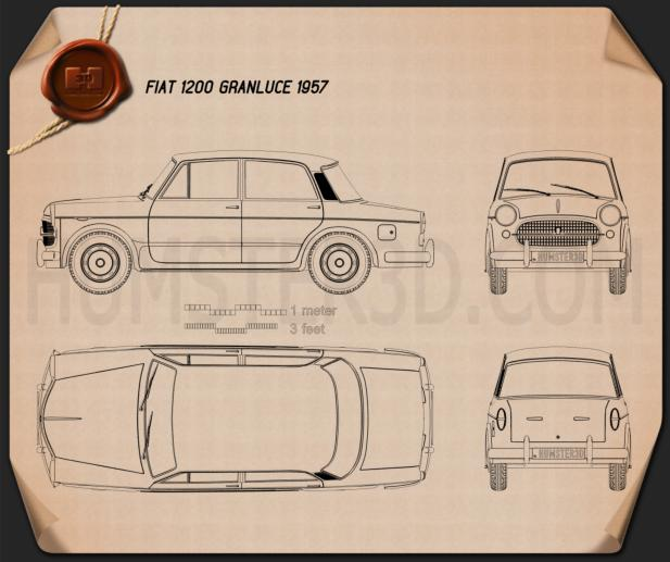 Fiat 1200 Granluce 1957 Blueprint