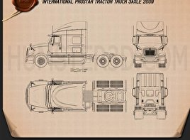 International ProStar Tractor Truck 2009 Blueprint